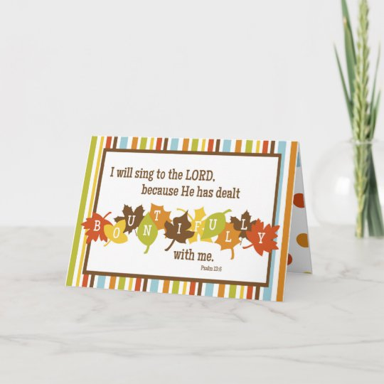Bountiful Folded Scripture Thanksgiving Card Blank Holiday Card