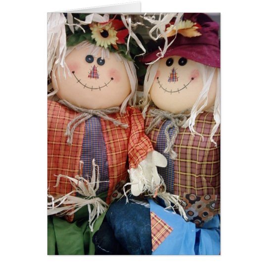 "'BOUNTIFUL HARVEST SCARECROW COUPLE"" CARD"