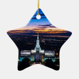 Bountiful Lds Mormon Temple Sunset Ceramic Ornament