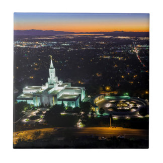 Bountiful Lds Mormon Temple Sunset Ceramic Tile