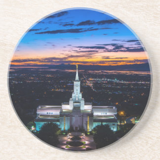 Bountiful Lds Mormon Temple Sunset Drink Coaster
