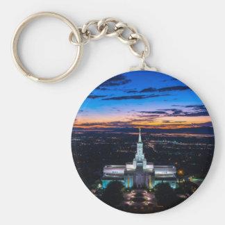 Bountiful Lds Mormon Temple Sunset Keychain