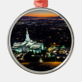 Bountiful Lds Mormon Temple Sunset Metal Ornament