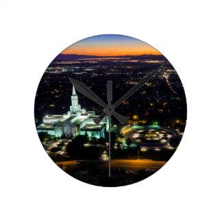 Bountiful Lds Mormon Temple Sunset Round Clock