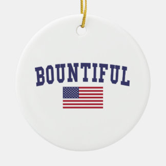 Bountiful US Flag Ceramic Ornament