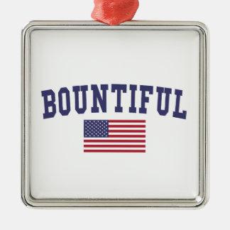 Bountiful US Flag Metal Ornament