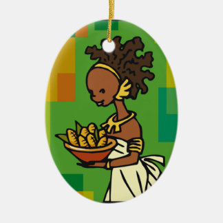 Bounty Double-Sided Oval Ceramic Christmas Ornament