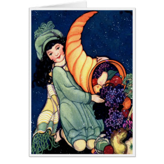 """""""BOUNTY OF WISHES"""" VINTAGE HAPPY THANKSGIVING CARD"""
