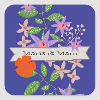 Bouquet and Banner Square Sticker