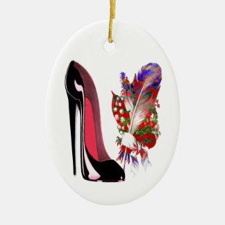 Bouquet and Black Stiletto Shoe Ornament