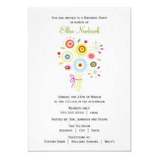 Bouquet Birthday Party Invitation