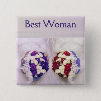 Bouquet Brides Best Woman Badge for a Gay Wedding Pinback Button