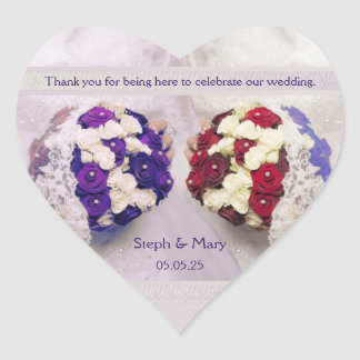 Bouquet Brides Heart Sticker Lesbian Wedding Favor