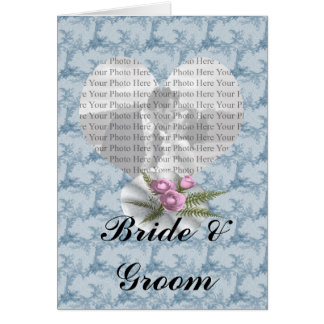 Bouquet Floral Blue Heart Greeting Card