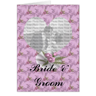Bouquet Floral Purple Colored Heart Greeting Card