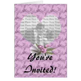 Bouquet Floral Purple Heart Greeting Card