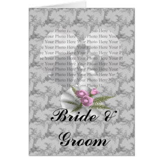 Bouquet Floral Silver Heart Greeting Card