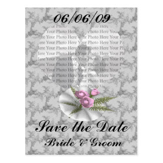 Bouquet Floral Silver Heart Postcard