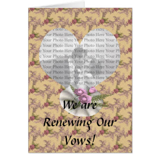 Bouquet Floral Tan Colored Heart Greeting Card