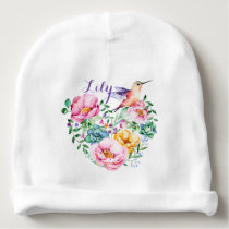 Bouquet for Baby, Hummingbird Floral Baby Beanie