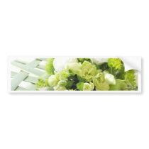 Bouquet from different white seasonal flowers bumper sticker