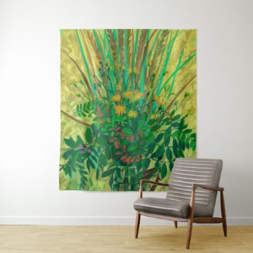 Art Themed Bouquet from the Finnish Bay, floral art, green Tapestry