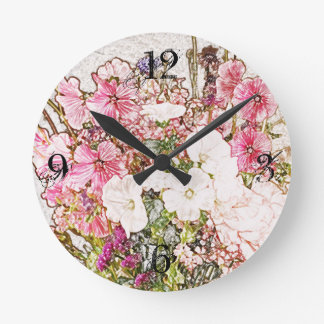 Bouquet in clear vase collection round clock