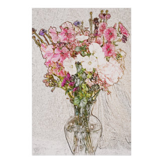 bouquet in clear vase pencil sketch poster