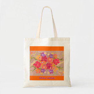 Bouquet in red & orange tote bags