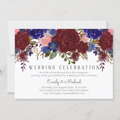 Bouquet Marsala Navy Blue Pink Floral WEDDING Invitation