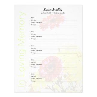 Bouquet - Memorial Guest Book Custom Filler Pages Letterhead