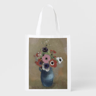 Bouquet of anemones reusable grocery bags