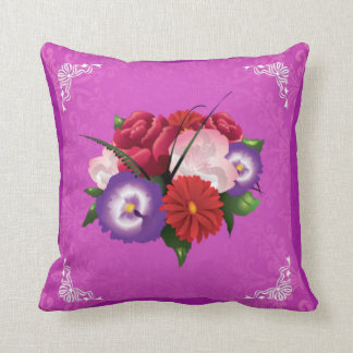 Bouquet of beautiful flower on pink cushion. throw pillow
