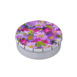 Bouquet of Colors Floral Abstract Art Design Candy Tins