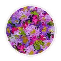 Bouquet of Colors Floral Abstract Art Design Edible Frosting Rounds