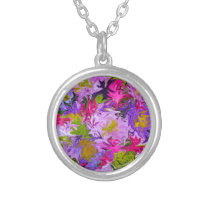 Bouquet of Colors Floral Abstract Art Design Silver Plated Necklace
