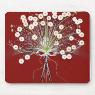 Bouquet Of Daisies Bouquet of Daisy Red Background Mouse Pad