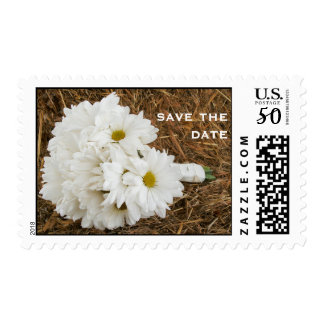 Bouquet Of Daisies On a Bale Of Hay Save The Date Postage