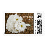Bouquet Of Daisies On a Bale Of Hay Save The Date Stamp