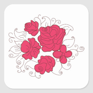 Bouquet of Deep Pink Roses Square Sticker