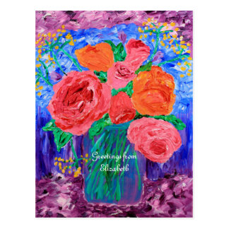 Bouquet of English Roses in Mason Jar Painting Postcard