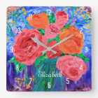 Bouquet of English Roses in Mason Jar Painting Square Wall Clock
