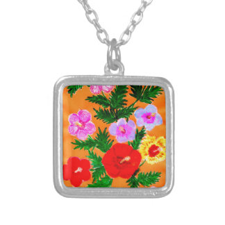 Bouquet of Flowers 4 Silver Plated Necklace