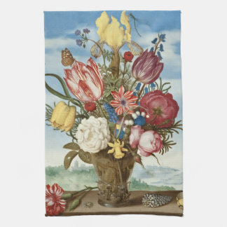 Bouquet of Flowers Ambrosius Bosschaert Fine Art Kitchen Towel