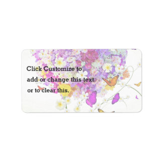Bouquet Of Flowers And Butterflies Label