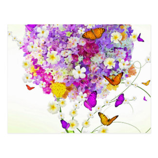 Bouquet Of Flowers And Butterflies Postcard