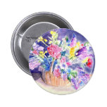 Bouquet of Flowers in a Basket Pinback Button