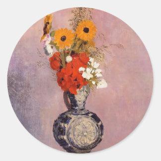 Bouquet of Flowers in a Blue Vase by Odilon Redon Sticker