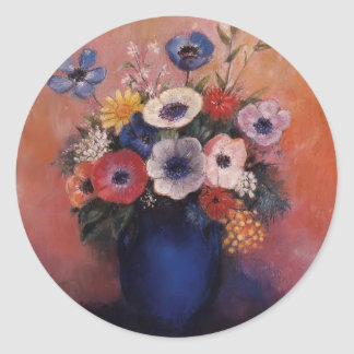 Bouquet of Flowers in a Blue Vase by Odilon Redon Round Sticker