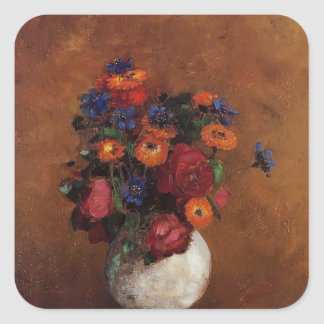 Bouquet of Flowers in a White Vase by Odilon Redon Stickers